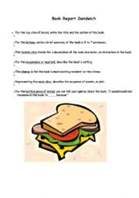 Sandwich Book Report Form